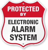 Protected By Electronic Alarm System Shield Sign