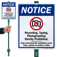 Recording Taping Photographing Prohibited LawnBoss Sign