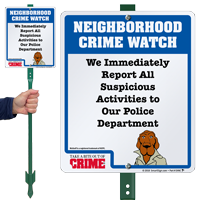 Report Suspicious Activities Crime Watch LawnBoss Sign
