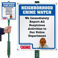 Report Suspicious Activities Crime Watch LawnBoss Sign