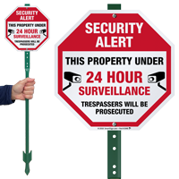 Security Alert 24 Hour Surveillance LawnBoss Sign