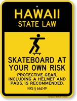 Skateboard Law Sign For Hawaii