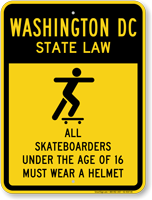 Skateboard Law Sign For Washington DC