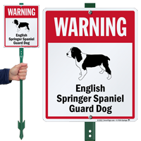 Warning English Springer Spaniel LawnBoss Sign