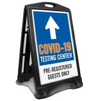 Testing Center Pre-Registered Guests Only Sidewalk Sign