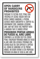 Section 30.07 Open Carry Of Handguns Prohibited Sign