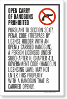 Section 30.07 Open Carry Prohibited English Insert