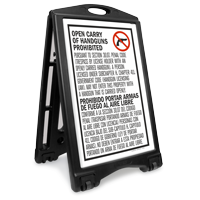 Bilingual Texas Handguns Prohibited Sidewalk Sign, Sec 30.07
