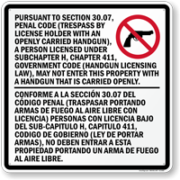 Bilingual Carry Handgun Prohibited Texas Sign (Section 30.07)