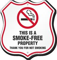 This Is A Smoke Free Property No Smoking Shield Sign