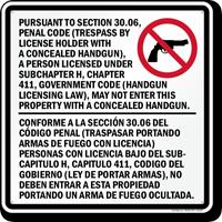 Sec. 30.06 Trespass By License Handgun Prohibited Sign