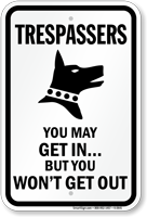 Trespassers Warning Beware Of Dog Sign