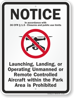 Unmanned Remote Controlled Aircraft Prohibited Drone Sign
