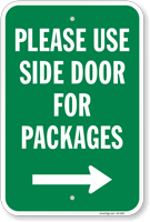 Use Side Door For Packages Sign with Arrow
