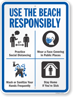Use The Beach Responsibly Social Distancing Sign