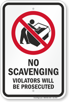 Violators Will Be Prosecuted Dumpster Rules Sign