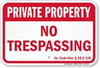 Virginia Private Property Sign