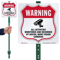 Warning Activities Monitored And Recorded LawnBoss Sign