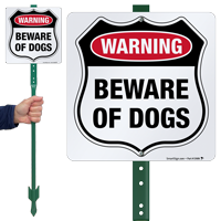 Warning Beware Of Dogs LawnBoss Sign