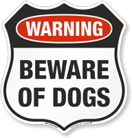 Warning Beware Of Dogs Shield Sign