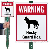 Warning Husky Guard Dog LawnBoss Sign