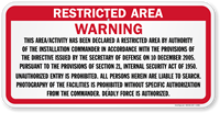 Warning This Area Declared A Restricted Area Sign