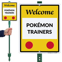 Welcome Pokémon Trainers Lawnboss Sign