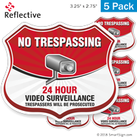 24 Hour Video Surveillance Shield Label Set