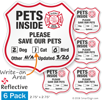 Alert Pets Inside Please Save Our Pets Shield Label Set