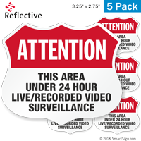 Area Under 24 Hour Video Surveillance Shield Label Set