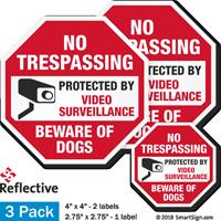 Beware Of Dogs No Trespassing Label Set