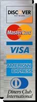Discover Network, MasterCard, Visa, American Express Logo Decal