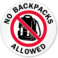 No Backpacks Allowed Label