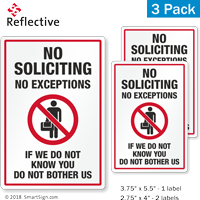 No Exceptions No Soliciting Label Set