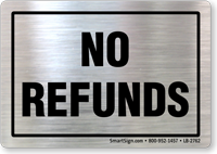 No Refunds Store Policy Customer Label
