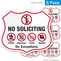 No Soliciting No Exceptions Shield Label Set