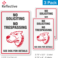 No Soliciting No Trespassing Funny Dog Warning Label Set
