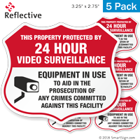 Property Protected By 24 Hour Surveillance Shield Label Set