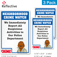 Report Suspicious Activities McGruff Crime Watch Label Set