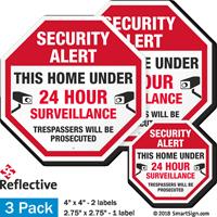 Security Alert Home Under 24 Hour Surveillance Label Set