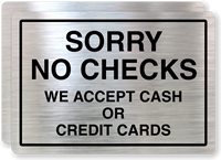 Sorry No Checks Cash/Credit Card Only Label