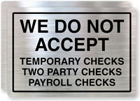 Temporary Checks, Two Party Checks Not Accepted Label