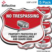 Video Surveillance No Trespassing Shield Label Set