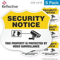 Video Surveillance Security Notice Shield Label Set