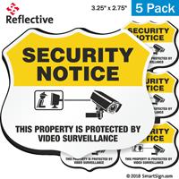 Video Surveillance Security Notice Shield Label Set