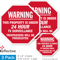 Warning 24 Hour TV Surveillance Label Set