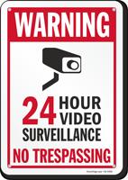 24 Hour Video Surveillance No Trespassing Warning Sign