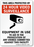 This area Protected by video surveillance Sign
