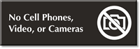 No Cell Phones, Video Or Camera Engraved Sign