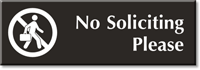 No Soliciting Please Engraved Door Sign with Graphic
